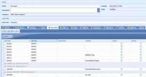 Assetware Tracker Audit Overview Screen