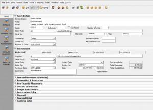 Assetware Manager Asset Screen