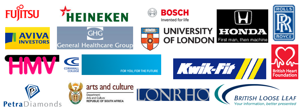 Rolls Royce, Heineken, Petra Diamonds, University of London, British Heart foundation